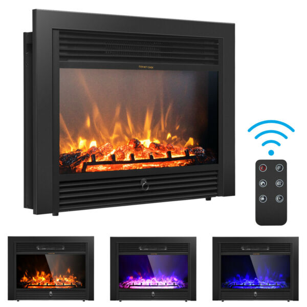Costway 28.5quot; Electric Fireplace Embedded Insert Heater Glass Log Flame Remote