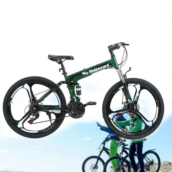 26inch Foldable Mountain Bike 21 Speed Bicycle Full Suspension MTB Bikes Bicycle $224.88