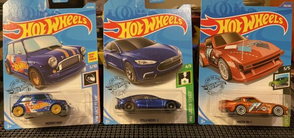 Hotwheels 3 Car Super Treasure Hunts: Tesla model 3 Mazda RX 7 amp; Morris Mini $74.99