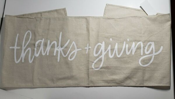 Linen Burlap Fall Table Runner quot;Thanks Givingquot;