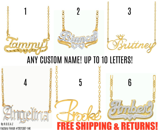 Personalized FINE Sterling Silver 14K Gold ANY Name Plate Necklace Free Chain $17.14