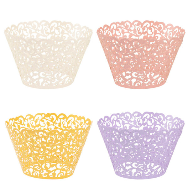 50 100 Cupcake Wrapper Baking Cup Vine Lace Laser Cut Liner Cake Paper Wedding