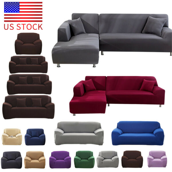 1 2 3 4 Seater Stretch Chair Sofa Covers Couch Cover Elastic Slipcover Protector $28.98