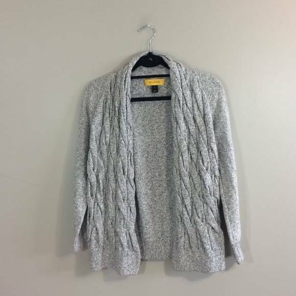 NEW St John Cable Knit Cardigan Shimmery Sweater M Womens St. John Yellow Label
