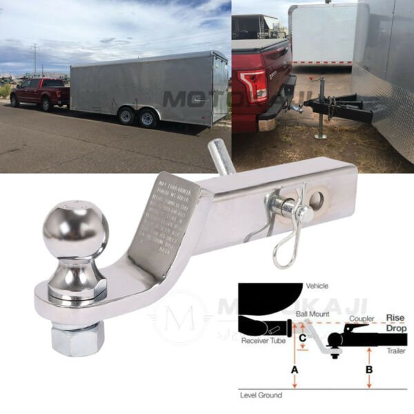2quot; Drop Hitch For 2quot; Receiver Trailer Ball Mount Silver w 2quot; Hitch Ball Set RV $21.00
