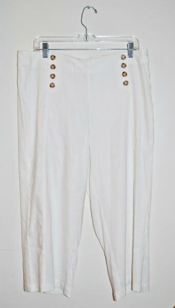 NWT J. Jill Women#x27;s Petite White Linen Stretch Cropped Pants sz 16P $28.00