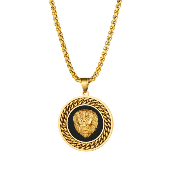 Men Punk Gold Black Stainless Steel Lion Head Round Pendant Necklace Wheat Chain