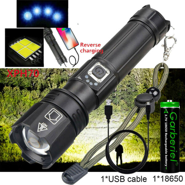 Super Bright Tactical Police LED Flashlight CREE XHP70 Zoomable Torch w Battery