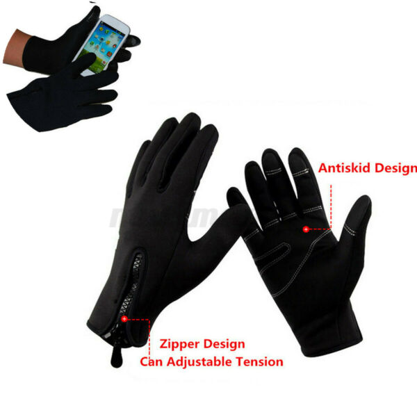 2x Motorcycle Bike Riding Cycling Winter Touch Screen Full Finger Glove Mitts $8.87