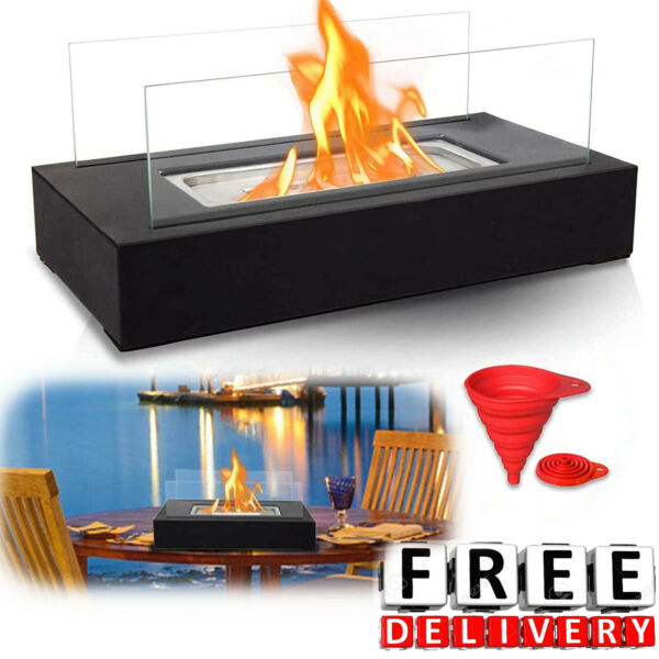 Bio Ethanol Fireplace Tabletop Portable Fire Bowl Pot Indoor Outdoor Pit