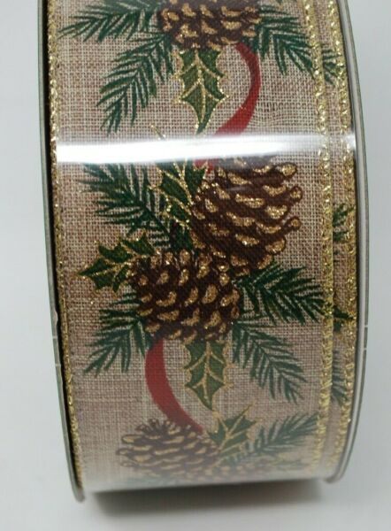 Kirkland Premium Burlap Pine Cone Holly Berries Wire Edge Ribbon 2.5quot; 50 Yard