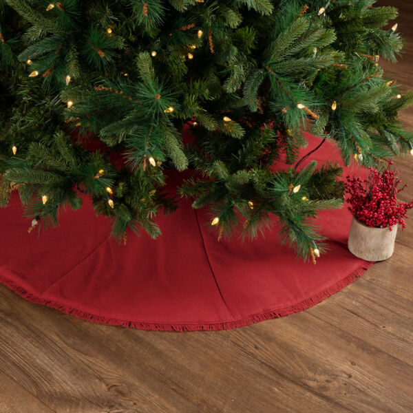 VHC Farmhouse 48quot; Tree Skirt Christmas Holiday Decor Festive Red Burlap Cotton