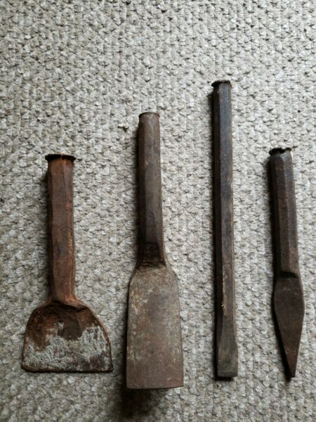 Lot of 4 Cast Iron Sculpting Chisels Stone Work Masonry Wrought Vintage
