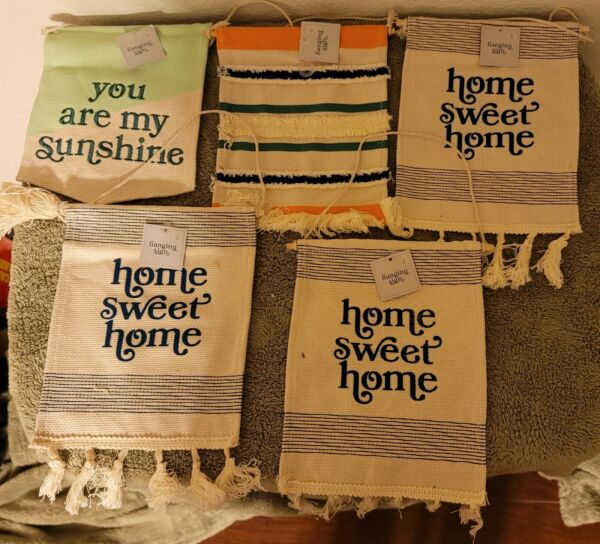 New hanging Signs Burlap Home Sweet Home amp; You Are My Sunshine Lot  9quot; X 7quot;