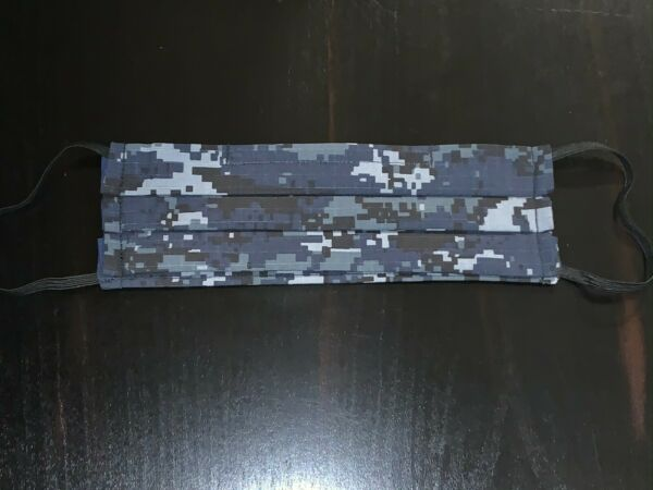 Blue Camouflage Mask for Adult Camo Mask Pleated w Nose Wire amp; Filter Pocket