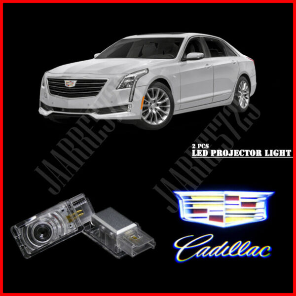 For Cadillac Car Door 2pc LED Light Logo Projector Easy Installation Emblem HD