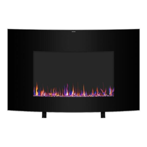 Zokop 35quot; Electric Fireplace Wall Mounted Freestanding Heater Crystal Flame 2021