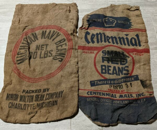 Michigan Navy Beans amp; Centennial pinto Burlap Sacks Bag