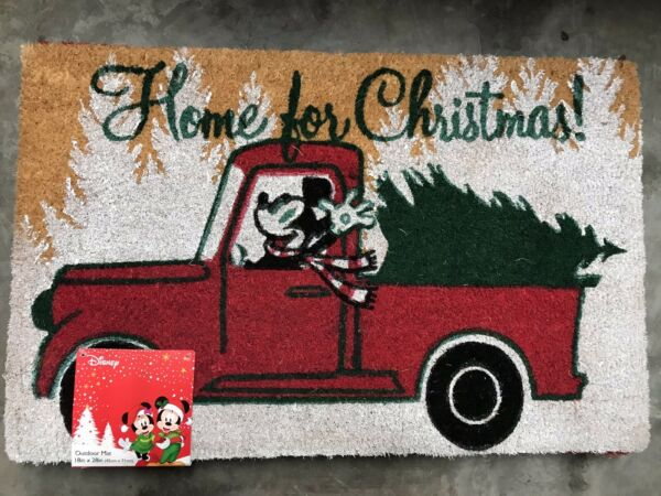 NWT Disney Mickey Home for Christmas Outdoor Mat Heavy Coir Straw 18x28