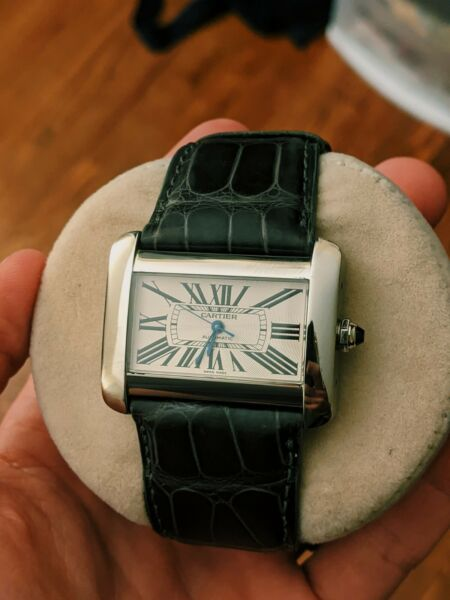 CARTIER TANK DIVAN AUTOMATIC LARGE Box amp; Papers Stainless Steel Watch Model 2612 $1998.00