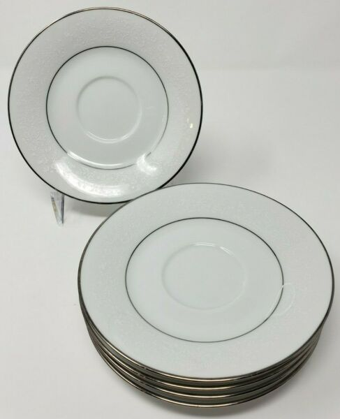"Noritake Thule 2020 Saucers Lot of 5 White White Floral Platinum Trim 6"" Japan $20.99"