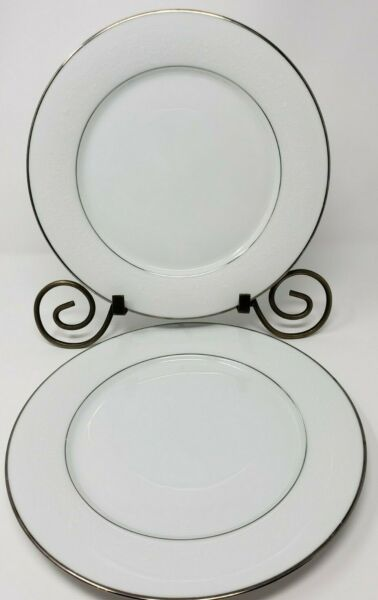 "Noritake Thule 2020 Dinner Plates Lot of 2 White Floral Platinum 10 ½"" Japan $20.99"