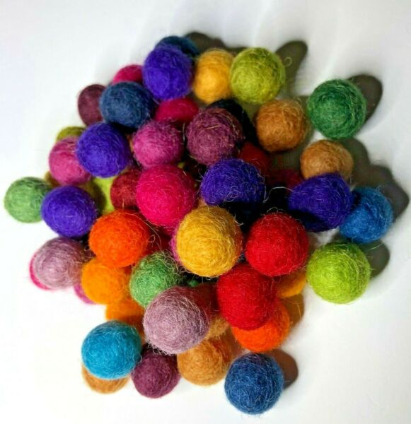 Mini Wool Felt Ball in assorted colors 60 piece packs $4.00