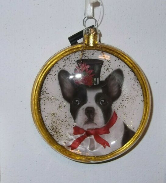 Boston Terrier Dog Christmas glass ornament 4quot; disk 180 Degrees NWT $9.99