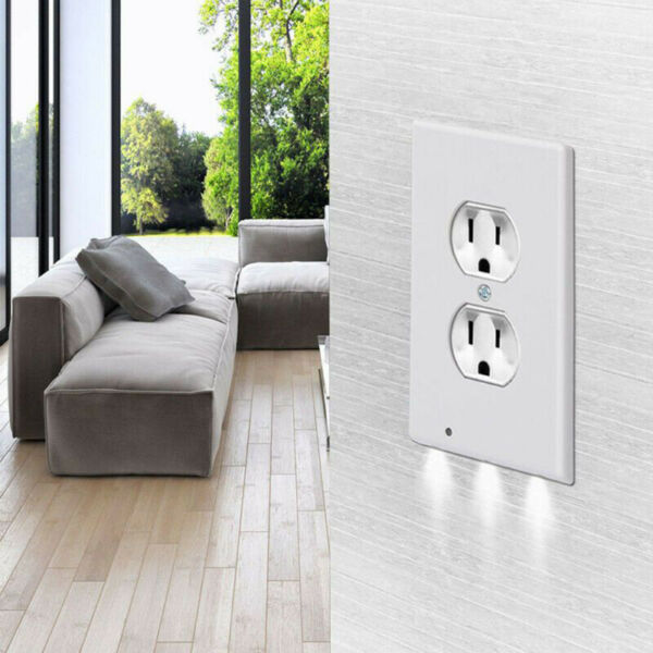 5X Duplex Wall Plate Outlet Cover with LED Night Light Ambient Light Sensor