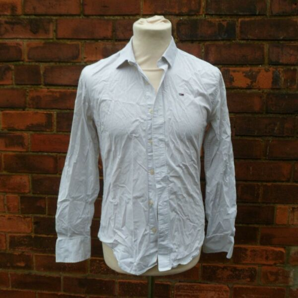 Hilfiger Denim White Cotton Button Up Shirt Tommy Men#x27;s Size S Small SEE DESC GBP 11.99