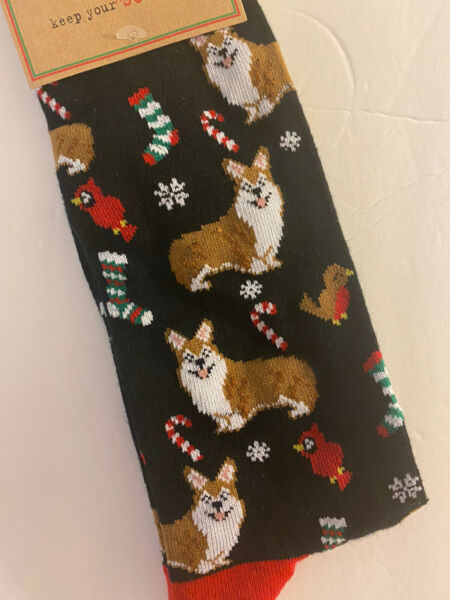 NEW Pembroke Welsh Corgi Dog Men's Christmas Dress Socks Black Shoe Size 8 12 $11.99