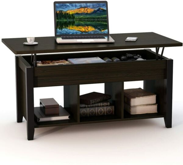 Lift Top Coffee Table w Hidden Storage Compartment and Lower Shelf Black Walnut