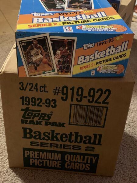 1992 93 Topps Basketball Series 2 Rack Pack Case Shaq Rc 3 Gold Per Pack sealed $1060.00