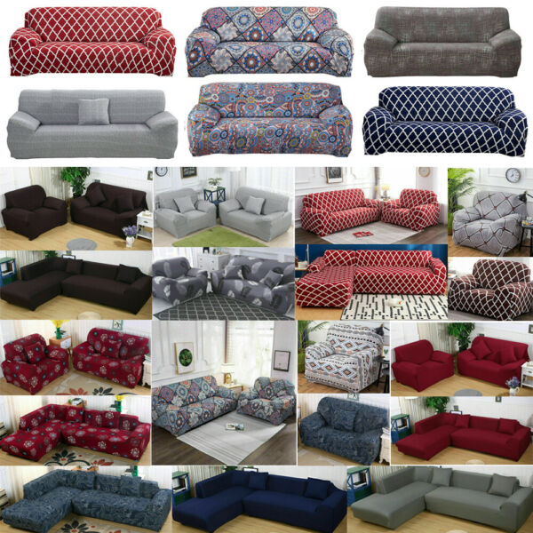 Stretch 1 2 3 4 Seater Sofa Covers Couch Chair Protector Solid Floral Slipcover $17.98