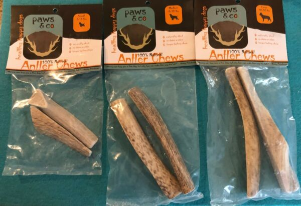 Paws amp; Co 100% Natural Antler Chews for Different Size Dogs 2 Pk Naturally Shed $10.00