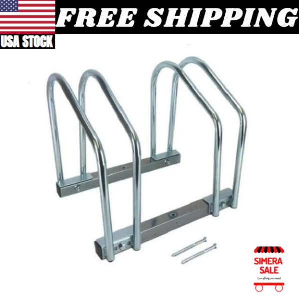 2 Bike Bicycle Stand Parking Garage Storage Organizer Cycling Rack Silver Twin $27.99