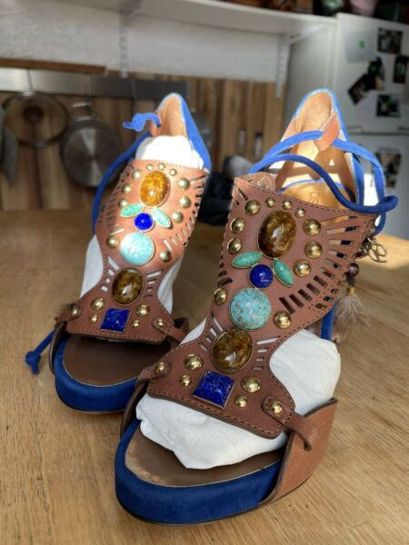 Rare Blue Dsquared2 Women's Heels Sandals Size 6.5 37 Feathers Stones Beads $399.00