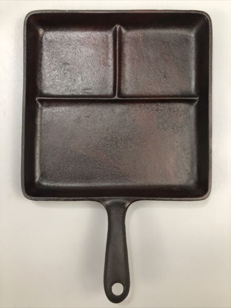 Vintage Square Cast Iron Divided Compartment Griddle Frying Pan 9.25quot; AA