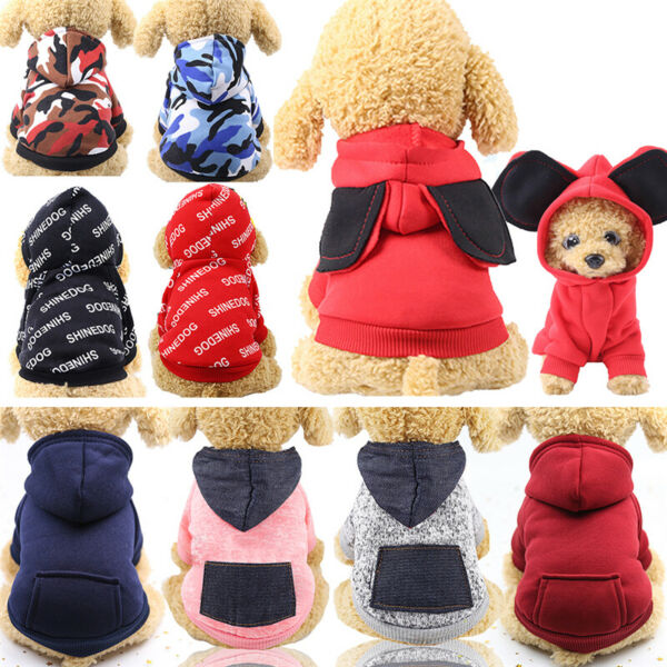 Hooded Pullover Pocket Warm Sweatshirt for Small Dog Cat Puppy Clothes $8.59