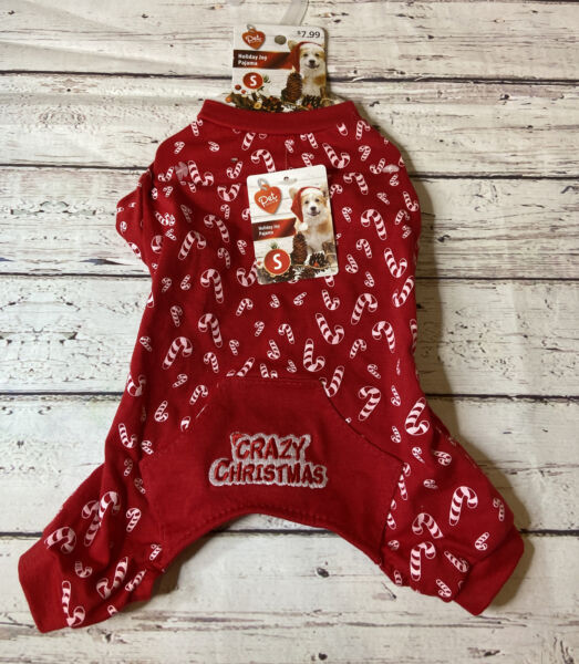 PET CENTRAL RED CANDY CANE CRAZY CHRISTMAS DOG PAJAMAS SIZE SMALL S NWT $7.50
