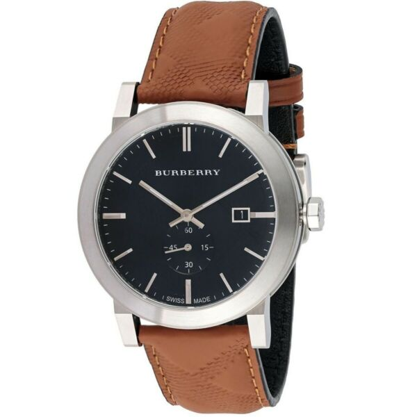 Burberry BU9905 The City Check Embossed Brown Leather Strap Men#x27;s Watch USA $184.90
