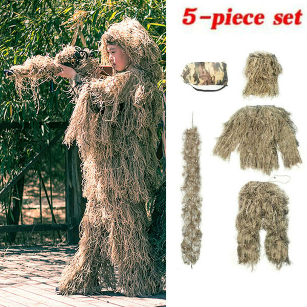 Ghillie Suit Camo Woodland Desert Camouflage Forest Hunting 4 Piece Bag M 2XL