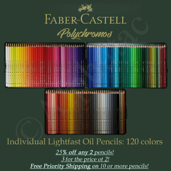 Faber Castell Polychromos Oil Pencils Individual: 120 Colors. Qty Discounts 2