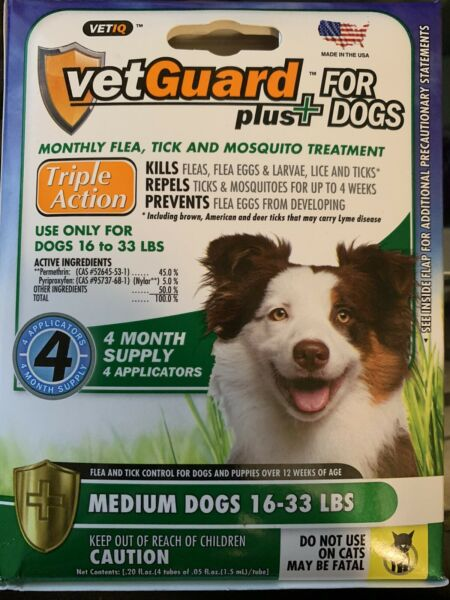 Dog Flea Tick Lice Treatment Control Medicine 4 Month Prevention For Medium Dogs $16.89