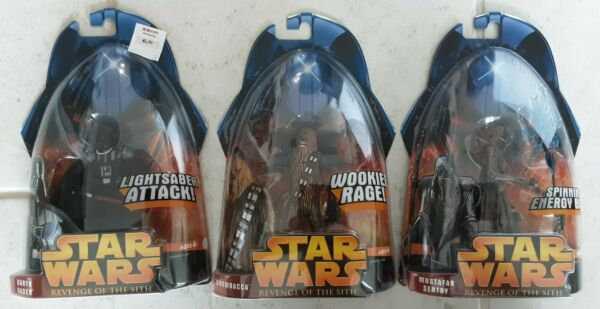STAR WARS REVENGE OF THE SITH DARTH VADER CHEWBACCA MUSTAFAR SENTRY FIGURES a163 $14.99