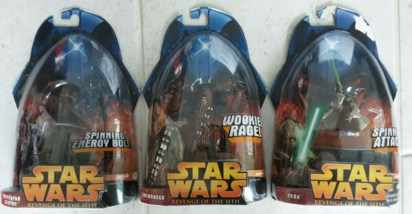 STAR WARS REVENGE OF THE SITH ROTS MUSTAFAR SENTRY CHEWBACCA YODA FIGURES a163 $13.99