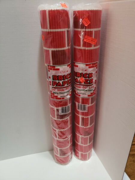 2 Vtg Corrugated Red Brick Paper Wallpaper Christmas Fireplace 24quot;x60quot; 5#x27; NOS