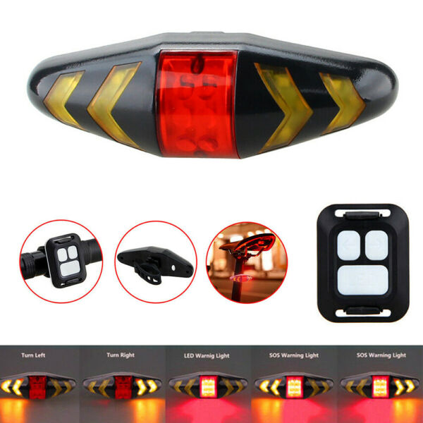 Wireless Bicycle Bike Rear LED Tail Light 5 Warning Turn Signal w Remote Control $13.94
