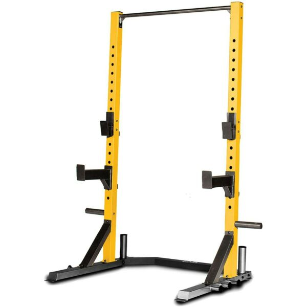 CAP Deluxe Power Squat Rack Multifunction Barbell Stand Weight Plate Rack Yellow $329.99