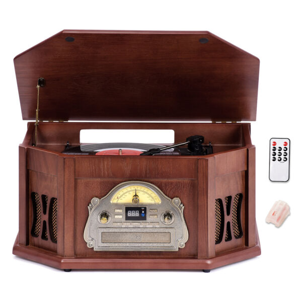 Classic Wood Turntable 10 in 1 Bluetooth Tape Vinyl Record Player With 3 Speed $169.99